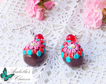 Dangling earrings, with miniature Easter chocolate eggs, made in polymer clay