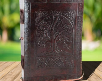Large Tree of Life Leather Grimoire~Blank Book of Shadows~Leather Spell Book