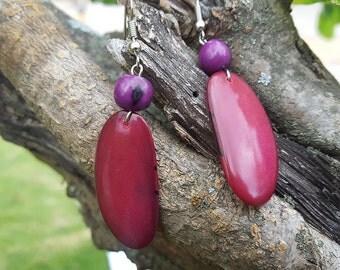 Tagua & Acai Earrings Fuchsia and Purple made in Ecuador