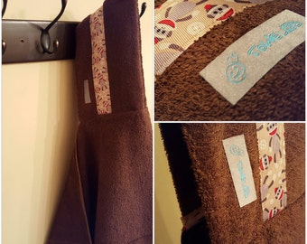 Brown/Sock Monkey Towel-D! Hooded Towel. Ready to Ship!