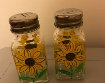 Hand painted Sunflower Salt and Pepper Shakers
