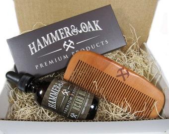2oz All Natural Beard Oil Conditioner Set W/Beard Comb -Wood Beard Comb -Jojoba Oil -Moisturizer -Gift for Him -Beard Kit -Free Shipping