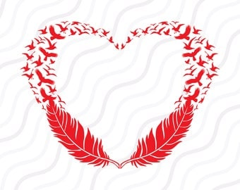 Feather birds heart SVG, Feather Birds SVG, Feather SVG  Cut table Design,svg,dxf,png Use With Silhouette Studio & Cricut_Instant Download