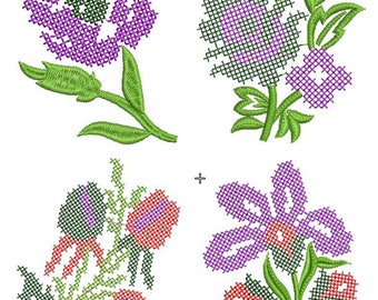 cross stitch flower machine embroidery designs (set of 4), cross stitch effect,INSTANT DOWNLOADS FILE,paadar club