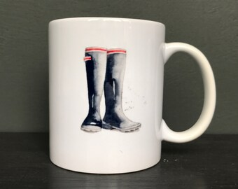China Mug with a Watercolour Image of a Pair of Black Wellies