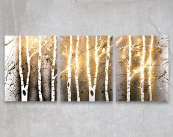 birch trees // custom original painting // modern triptych // nature painting // metallic large wall art // gold tree silhouette nature art