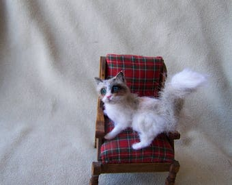 Ooak Miniature Dollhouse 1:12 scale Ragdoll Cat by Malga