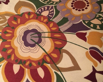 Big Bloom Fabric Rustic Colors on Cream -Beautiful Illustrations 100% Quality Cotton By the HALF Yard-Yardage