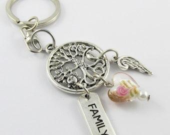 Tree of Life Family Heart Angel Wing Charm Keychain Keyring Swivel Bag Tag 95mm (C2597/C1857/C1606/KCF023)