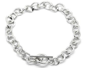 Silver Tone Textured Curb Link Chain Bracelet Toggle Clasp suit Clip on Charms (BCL022)