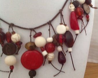 Wearable Art boho necklace of red, brown and cream