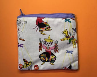 Calavera puppet zipper pouch coin purse skeleton fiesta design
