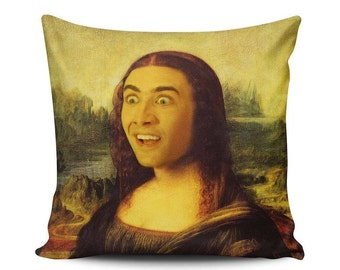 Mona Cage - Throw Pillow - Home Decoration, Funny, Mona Lisa, Nicolas Cage, Portrait, Faceswap