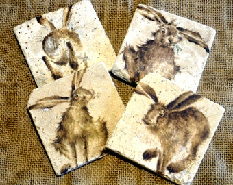 Set of Four Hare/Rabbit Natural Stone Coaster