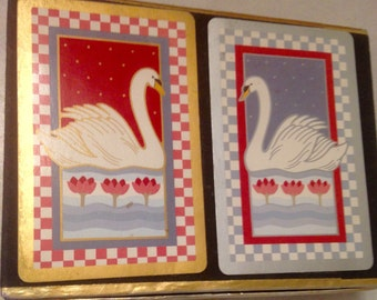 Vintage playing cards/Congress Designer Series/1990's/swan playing cards/double deck of cards/Canasta double deck/CLEARANCE