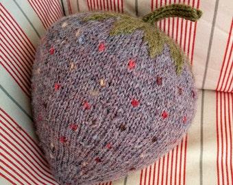 Grey Not-a Strawberry Softie Stuffie Plushie Cushion