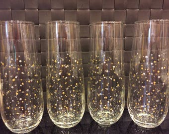 Polka Dot Stemless Champagne Flutes - Set of 4 - Silver & Gold