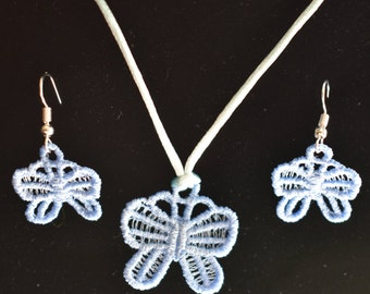 Blue Butterfly Pendant and Earrings