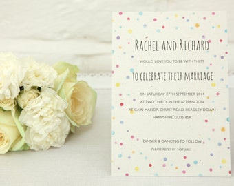 Pastel Polka Dot Wedding Invitation - SAMPLE ONLY