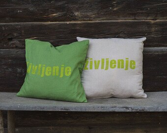 LINEN pillow case with handmade block print_green