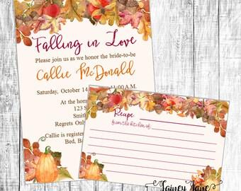 Fall Bridal Shower Invitation, Shower Invitation, Pumpkin Bridal Invitation, Recipe Shower, Bridal Recipe Card, Falling In Love Invitation
