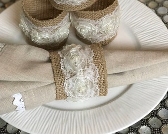 Shabby Chic Napkin Rings, Lace, Burlap, Faux Pearls