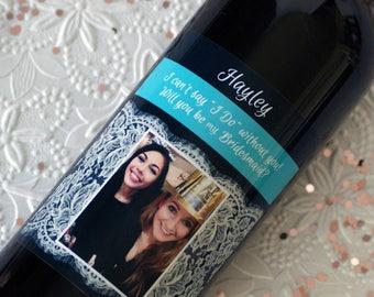 Bridesmaid Wine Label, Wedding Wine Label, Personalized Wine Label, Matron of Honor Label, Custom Wine Label, Bridesmaid gift, Wine Label