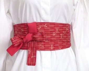 COTTON JAPANESE Fabric, Reversible Obi Belt, Wide wrap belt, Waist belt,  Red Rose Pink Sash Corset Cincher