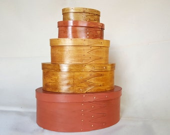Shaker style boxes - set  of 5 in Natural and Salmon finish