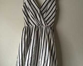 Vintage Black & White Striped Sun Dress