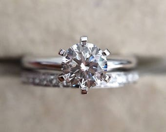 1 carat Forever Brilliant Moissanite Engagement ring set with natural diamonds in 18k white gold, Channel set Eternity Wedding Band