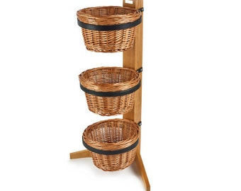 3 Tier Display Stand With Round Baskets. Shop display. Floor display. Point of sale. Baskets.- SP121