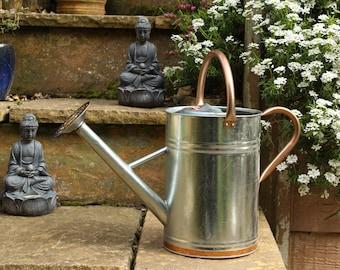 Metal watering Can 9 litre sliver steel watering can in