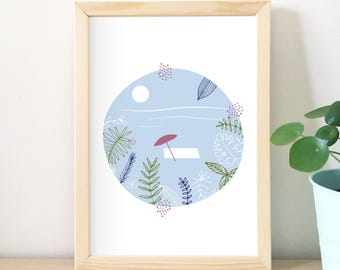 Tropical print, illustration, beach, art deco graphic, green, blue, home decor, design graphics, vegetable, summer, sea, ocean, vacation