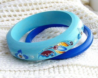 Blue Bracelet Set Wooden Bracelet Hand painted bracelet Wooden jewelry Royal blue Bracelet Blue jewelry