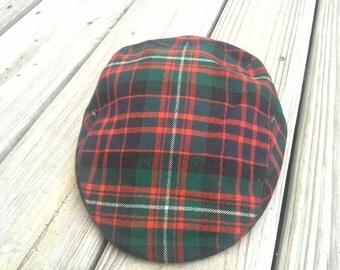 Vintage  Scott&Co cap,golf hat tartan fine wool Made in England size  (Small)