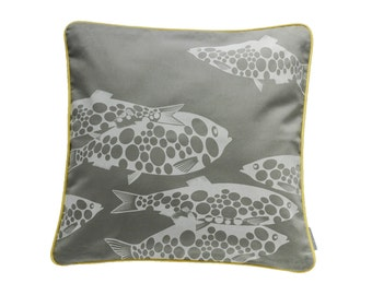 Pillowcase MISS FISH, light grey / white, 50 x 50 cm (without filling)