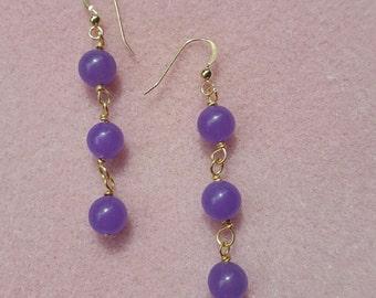 Lavendar Candy Jade Gold filled Wire Earrings