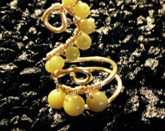 Green Jade with Gold Plated Wire Wrapped Ring