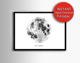 Printable Moon Art, Scandinavian, Black and White Print, Moon Photo, Lunar Decor, La Luna