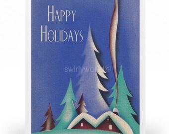 Vintage 1920s Art Deco Christmas Cards, Printed Retro 1930s Vintage Holiday Cards, Art Deco Christmas Cards, Vintage Holiday Cards- SW125