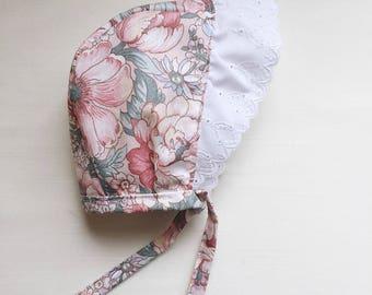 floral eyelet brimmed bonnet