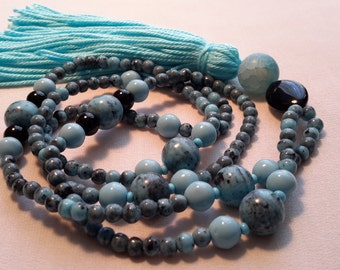 Mala from magnesite, Onyx and snakes agate gift idea