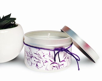 Jasmine Soy Candle 8 oz Tin- Soy Candles- Decorative Candles- Jasmine Scent
