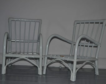 Two small chairs Wicker / Two cute little french wicker chairs