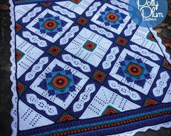 Crochet Pattern - A Day at the Grand Bazaar Afghan - an Original Polly Plum Pattern
