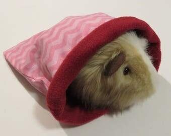 "Medium 11"" pink chevron stripe cuddle sleep sack bags - Sleeping bags for guinea pig/hedgehog/rat/ferret/sugar glider"