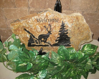 Engraved Welcome Flagstone with Deer & Tree