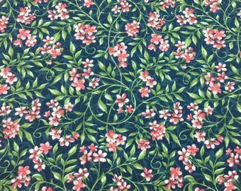 Fabric, Allover Flowers Navy/Pink, Bluebird Gathering Collection by Jackie Robinson for Benartex Fabrics
