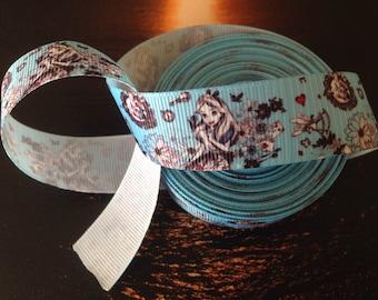 """Grosgrain 7/8"""" Alice in Wonderland White Rabbit Blue Flower Ribbon"""